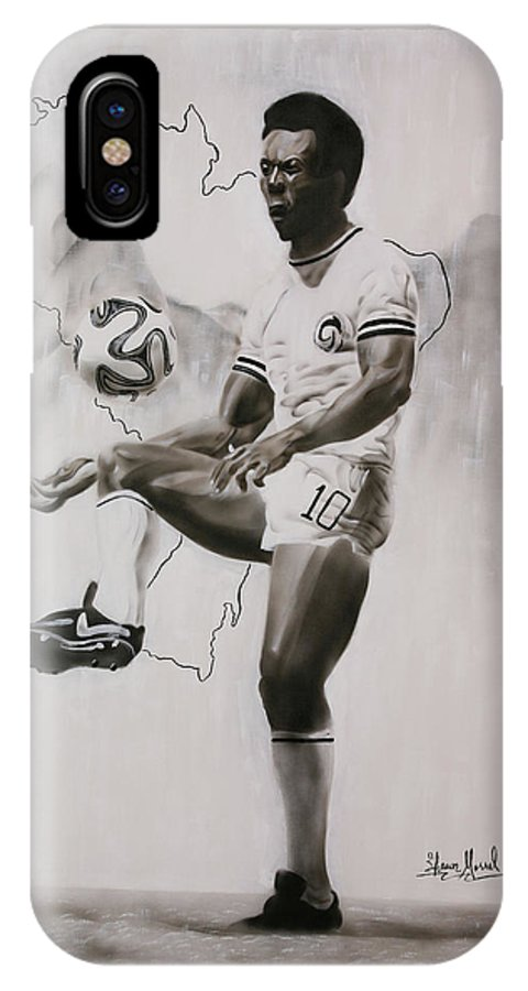 Pele IPhone X Case featuring the painting Pele Tribute by Shawn Morrel