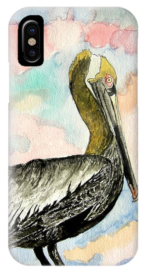 Watercolor IPhone X Case featuring the painting Pelican 2 by Derek Mccrea