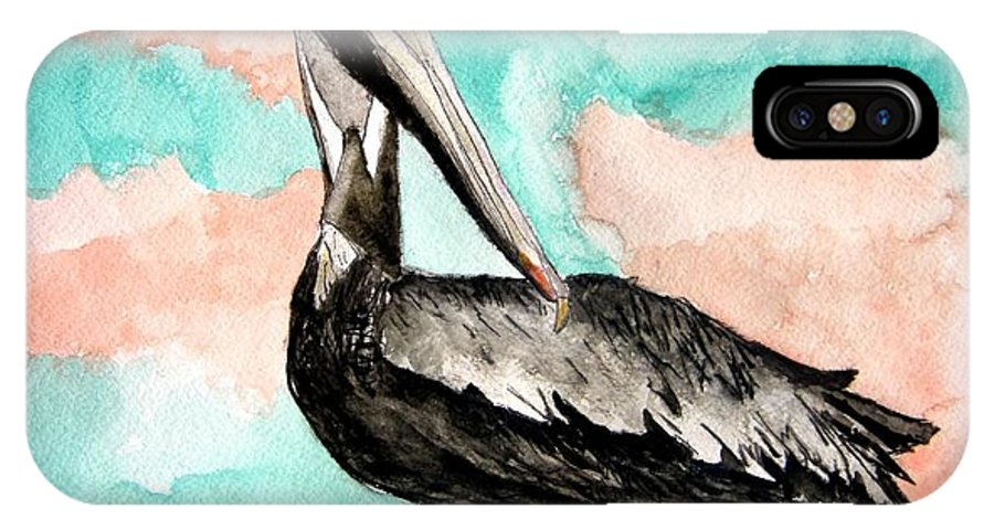 Bird IPhone X Case featuring the painting Pelican 3 by Derek Mccrea