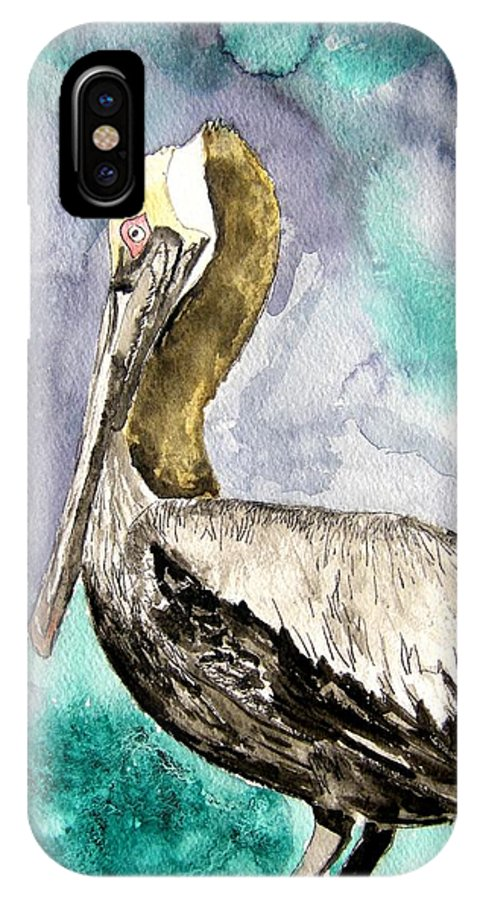 Pelican IPhone X Case featuring the painting Pelican by Derek Mccrea