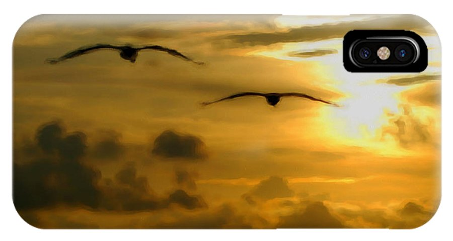 Pelican IPhone X Case featuring the painting Pelican Flight Into The Clouds by Michael Thomas