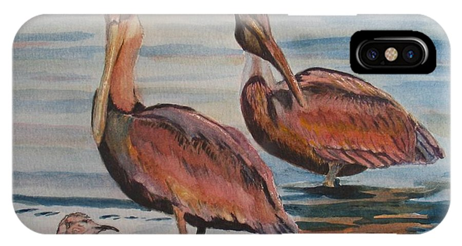 Pelicans IPhone X Case featuring the painting Pelican Party by Karen Ilari