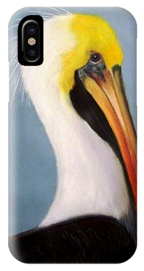 Pelican IPhone X Case featuring the painting Pelican Portrait by Dave Combs