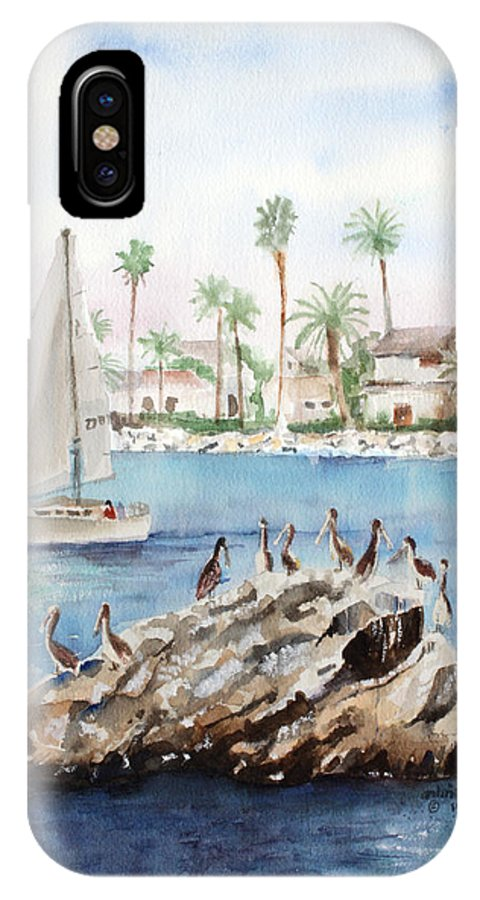 Pelicans IPhone X Case featuring the painting Pelican Rock by Arline Wagner