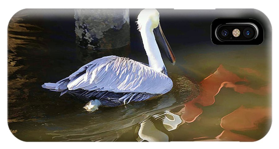 Pelican IPhone X Case featuring the photograph Pelican Swim II by Jody Lovejoy