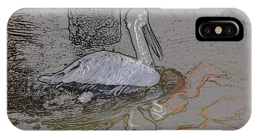 Pelican IPhone X Case featuring the digital art Pelican Swim IIi Color Pencil by Jody Lovejoy