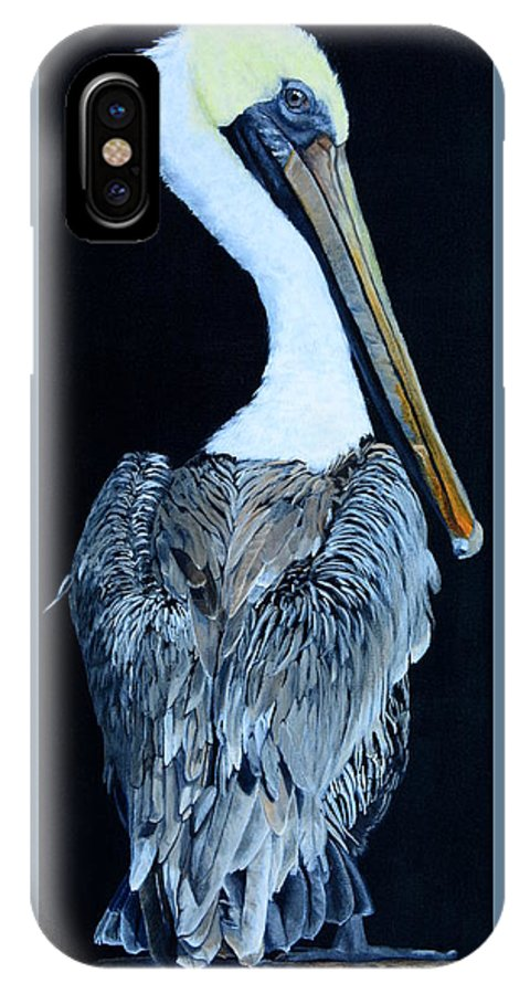 Pelican IPhone X Case featuring the painting Pelican by Vicky Path