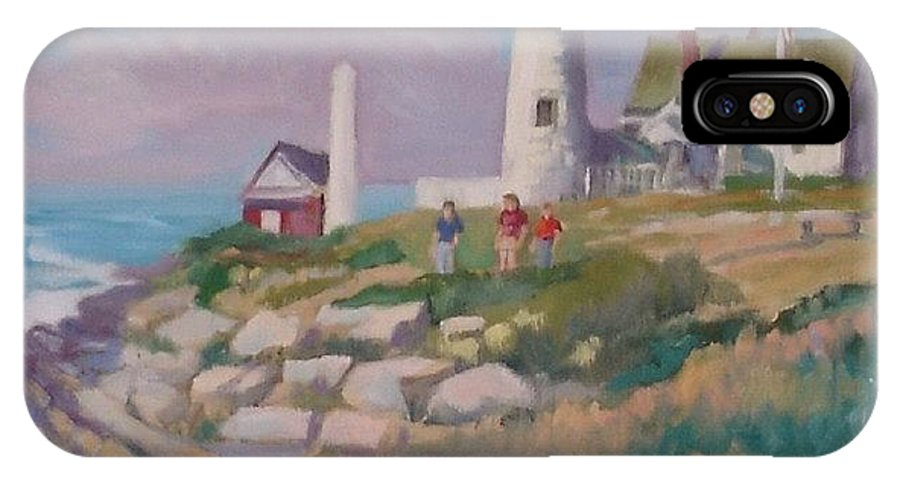 Lighthouse IPhone X / XS Case featuring the painting Pemiquid Light by Michael McDougall