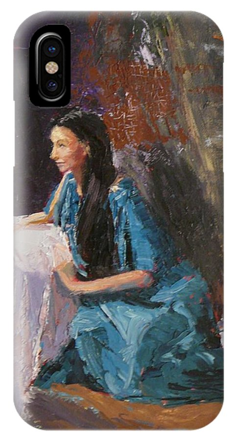 Sitting Woman IPhone X Case featuring the painting Penelope by Irena Jablonski