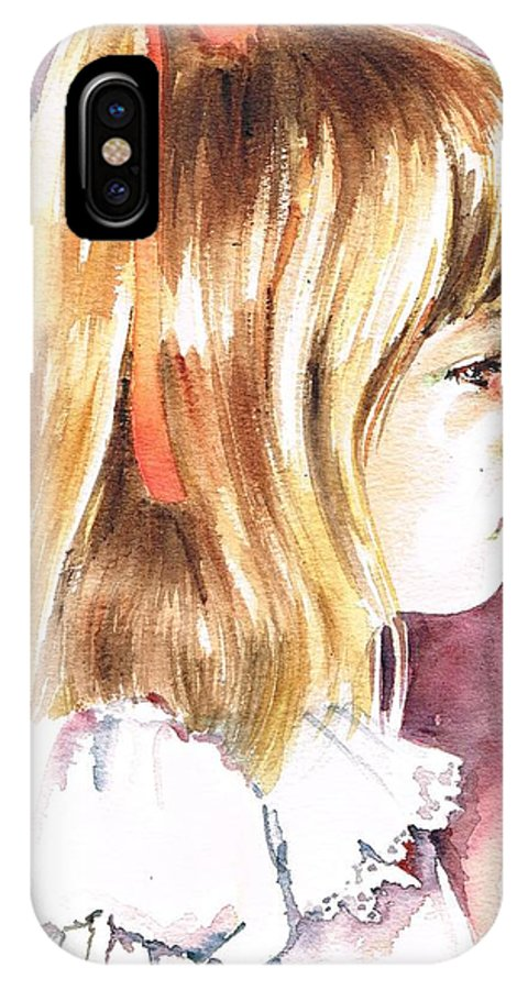 Girl IPhone X Case featuring the painting Penelope by Val Stokes