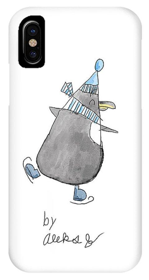 Penguin IPhone X Case featuring the digital art Penguin By Aleks by Terry Jachimiak II