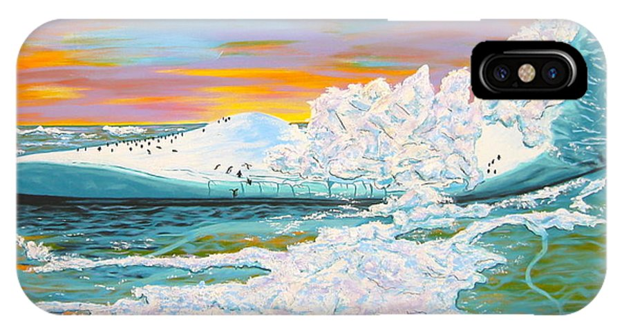 Iceberg IPhone X Case featuring the painting The Last Iceberg by V Boge