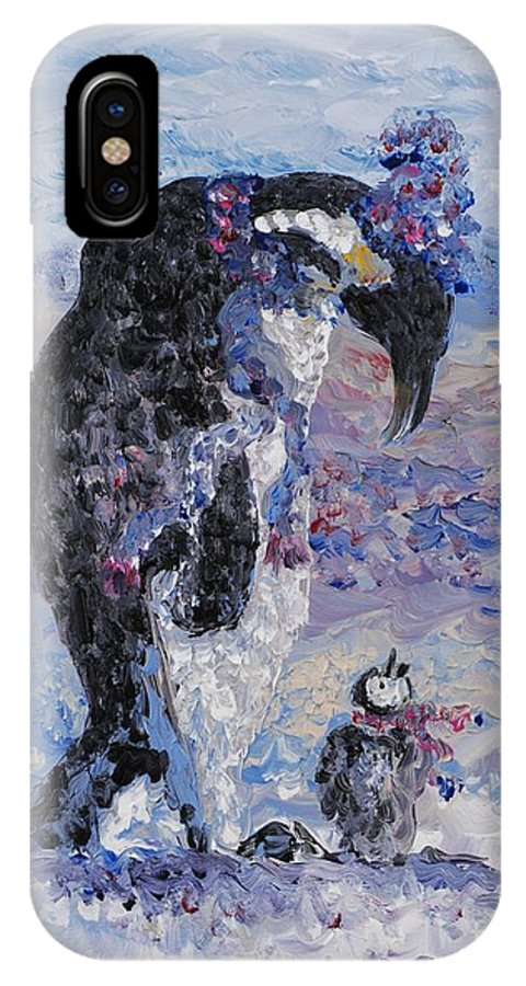Penguins Winter Snow Blue Purple White IPhone X / XS Case featuring the painting Penguin Love by Nadine Rippelmeyer