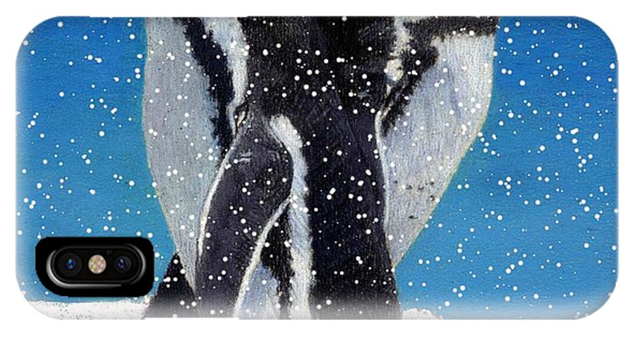 Snow IPhone X Case featuring the painting Penguins In The Snow by Patricia Barmatz