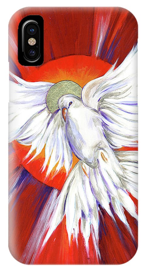 Pentecost IPhone X / XS Case featuring the painting Pentecost Dove by Lynne Beard