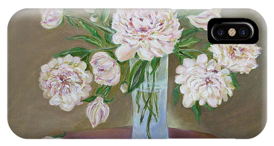 Peonies IPhone X Case featuring the painting Peonies Bouquet In An Elegant Bowl On A Round Table by Katia Iourashevich Ricci