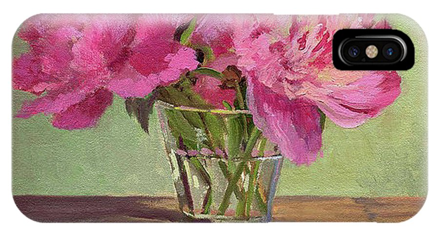Still IPhone X Case featuring the painting Peonies In Tumbler by Keith Burgess