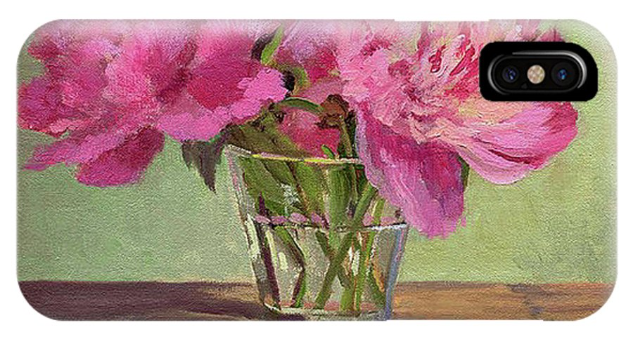 Still IPhone Case featuring the painting Peonies In Tumbler by Keith Burgess