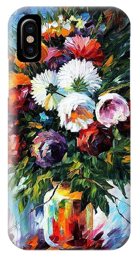 Afremov IPhone X Case featuring the painting Peonies by Leonid Afremov
