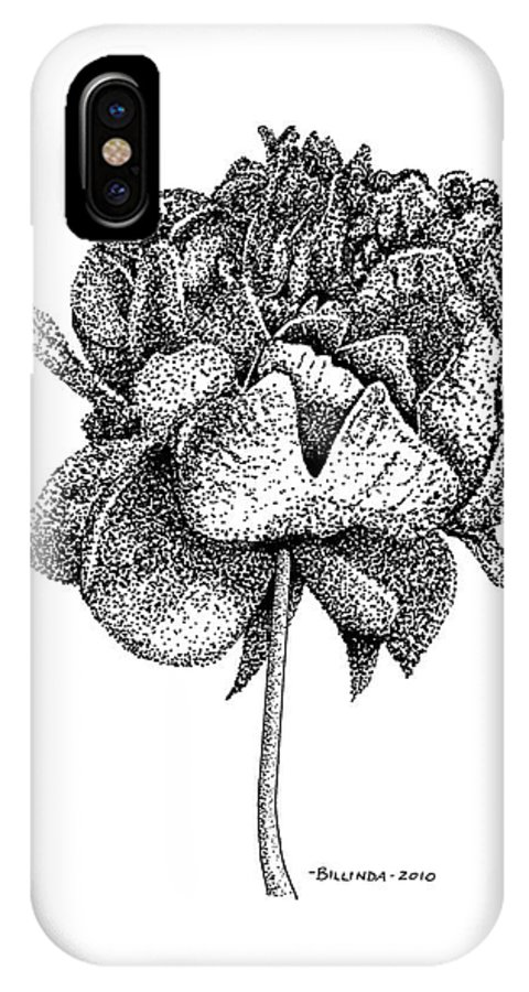 Peony IPhone X Case featuring the drawing Peony by Billinda Brandli DeVillez