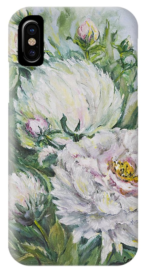 Peony IPhone X Case featuring the painting Peony by Carolyn Bell