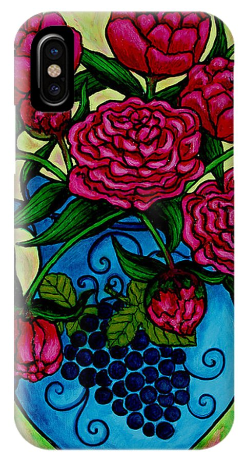 Peonies IPhone X Case featuring the painting Peony Party by Lisa Lorenz