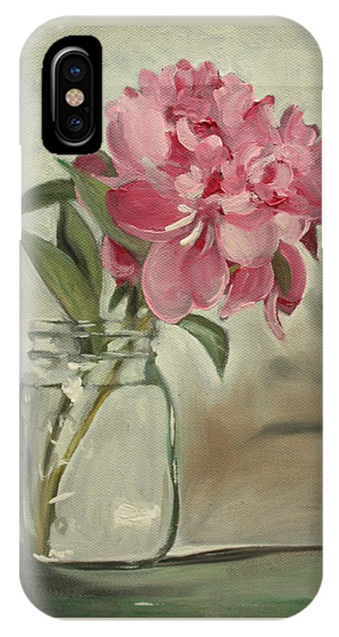 Still-life IPhone X Case featuring the painting Peony by Sarah Lynch