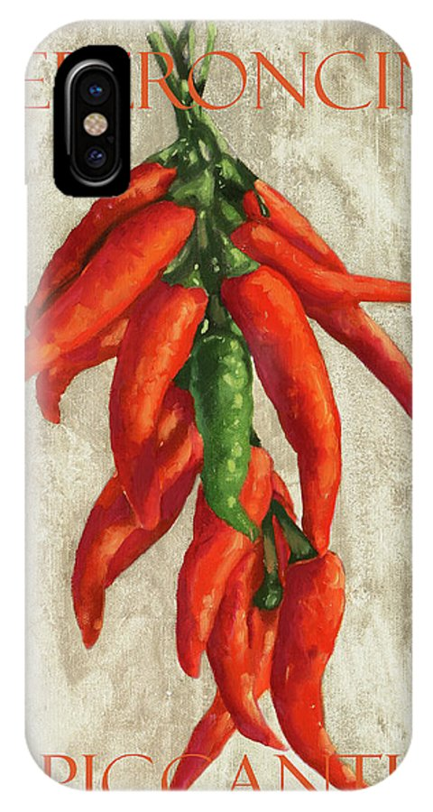 Spicy Pepper IPhone X Case featuring the painting Peperoncini Piccanti by Guido Borelli
