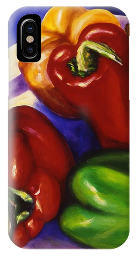 Still Life Peppers IPhone X Case featuring the painting Peppers In The Round by Shannon Grissom