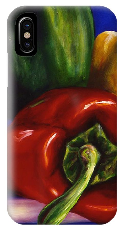 Still Life IPhone Case featuring the painting Peppers On Peppers by Shannon Grissom