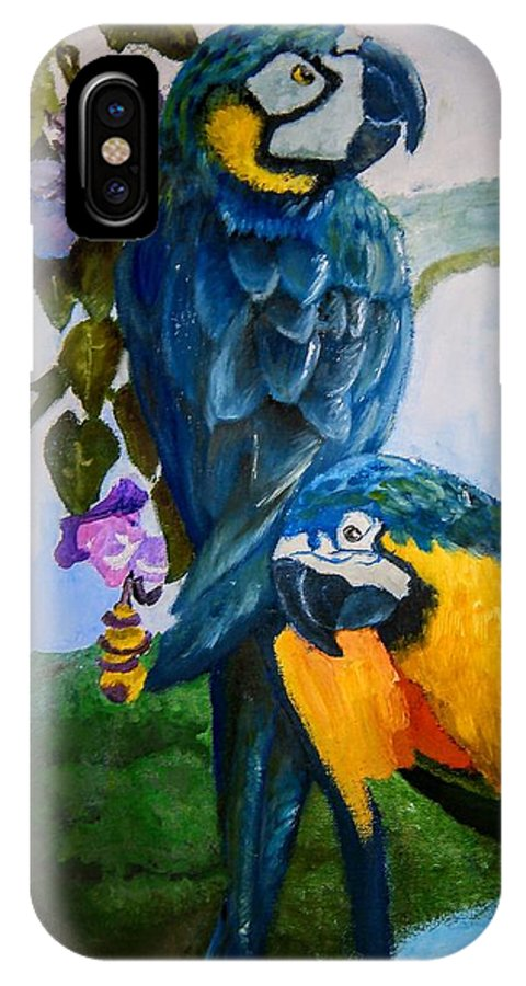 Parrot IPhone X Case featuring the painting Perched In Paradise by Jessica Mincy