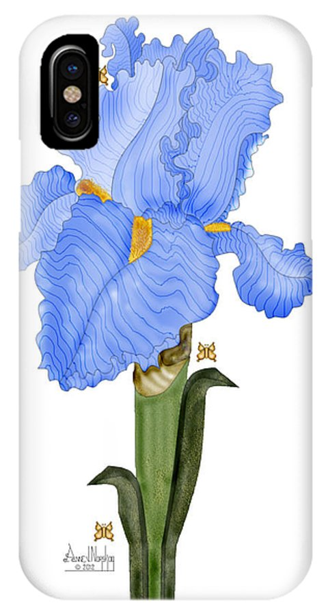 Anne Norskog IPhone X Case featuring the painting Periwinkle Blue Iris by Anne Norskog