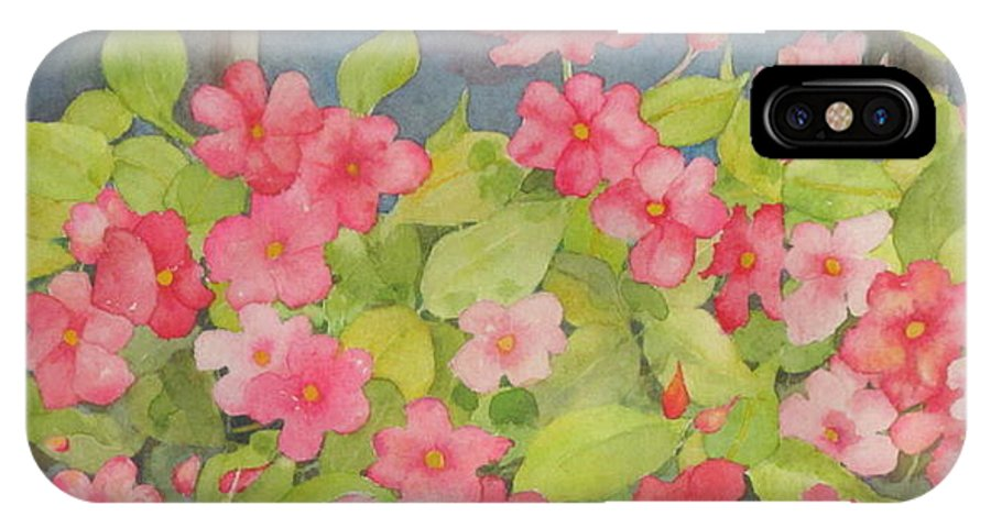 Flowers IPhone X / XS Case featuring the painting Perky by Mary Ellen Mueller Legault