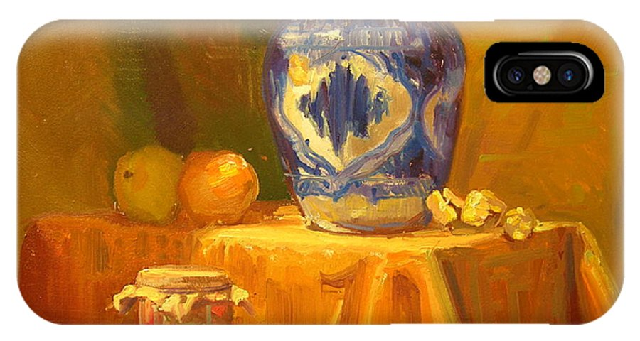 Still Life IPhone X Case featuring the painting Persian Vase and Fruit Jar by David Dozier