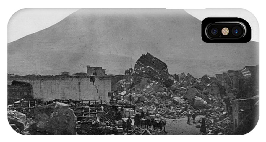 1868 IPhone X Case featuring the photograph Peru: Earthquake by Granger