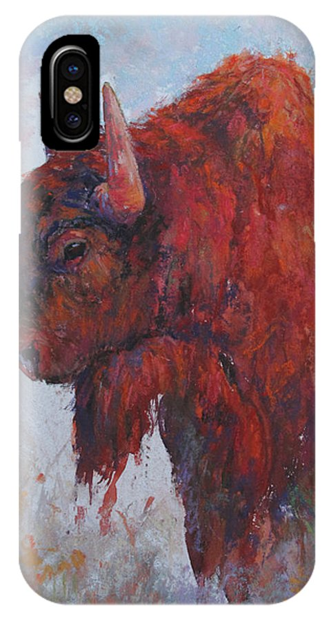 Buffalo IPhone X Case featuring the painting Pete by Susan Williamson