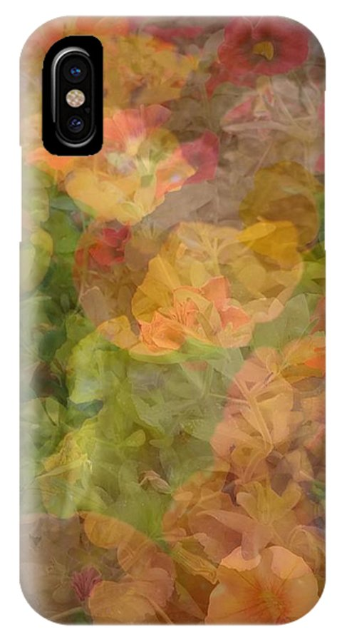 Flowers IPhone X Case featuring the photograph Petunias And Lantana Collage by Kathy Barney