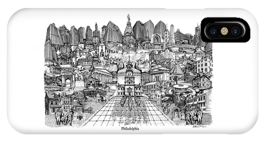 City Drawing IPhone X Case featuring the drawing Philadelphia by Dennis Bivens
