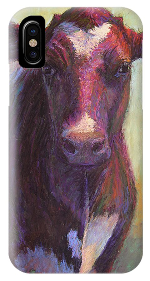 Cows IPhone X Case featuring the painting Phoebe Of Merry Mead Farm by Susan Williamson