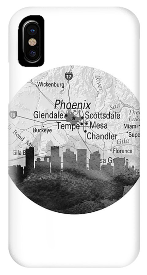 Phoenix IPhone X Case featuring the painting Phoenix Arizona 11rd by Aged Pixel