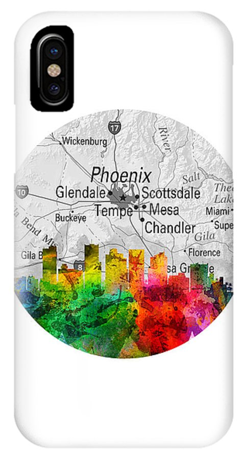 Phoenix IPhone X Case featuring the painting Phoenix Arizona 12rd by Aged Pixel