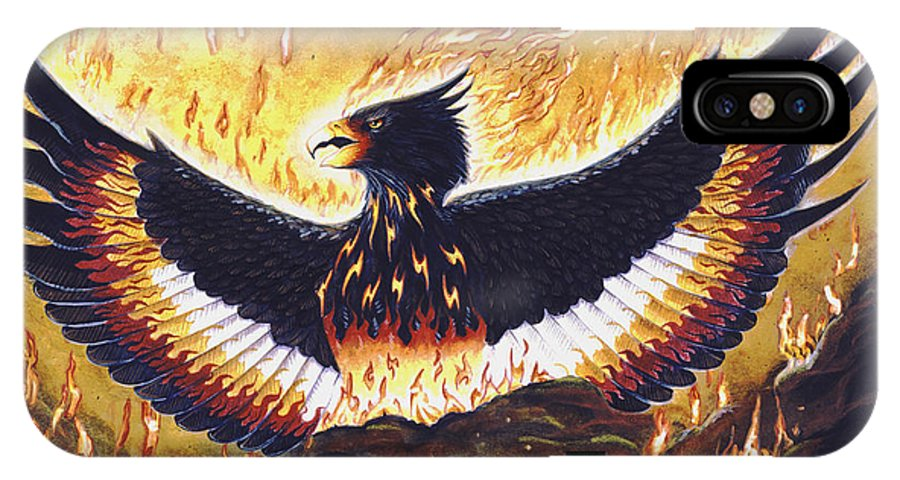 Phoenix IPhone X / XS Case featuring the painting Phoenix Rising by Melissa A Benson
