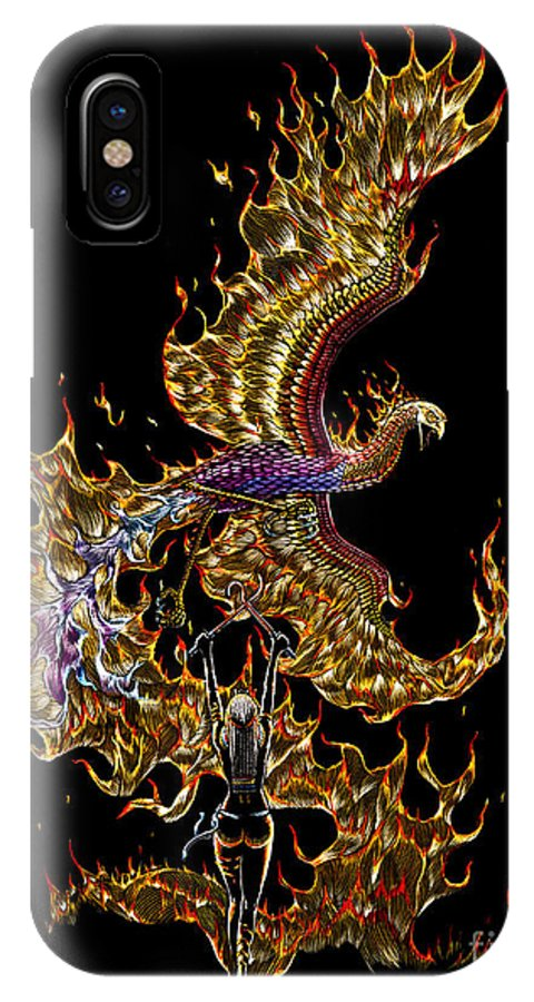 Phoenix IPhone Case featuring the drawing Phoenix by Stanley Morrison