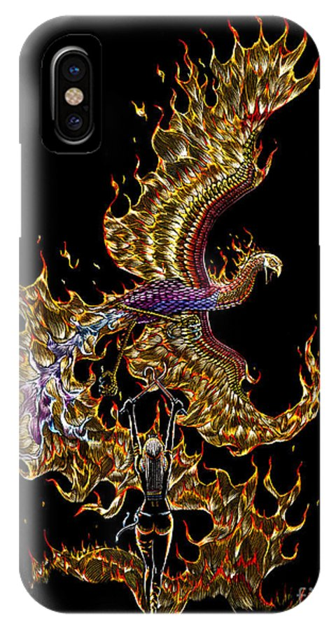 Phoenix IPhone X Case featuring the drawing Phoenix by Stanley Morrison