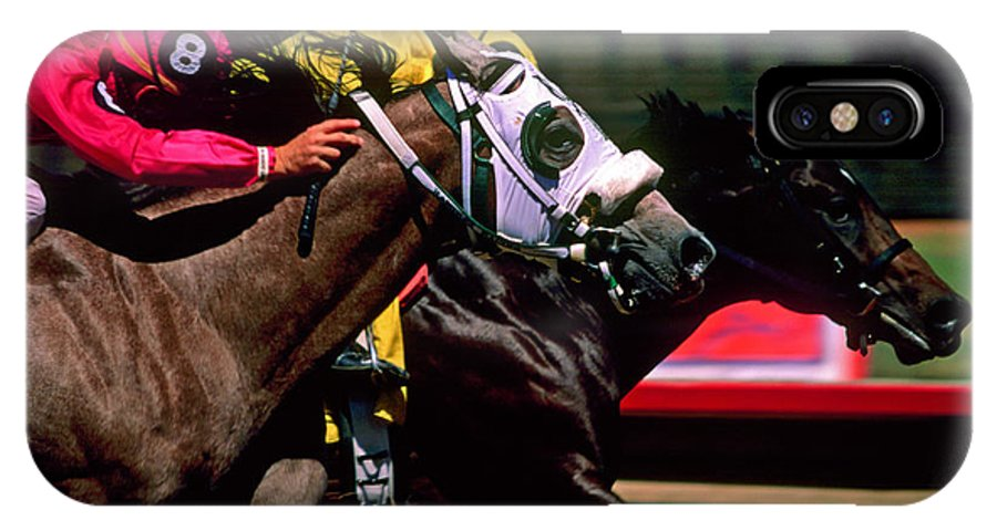 Horse IPhone X Case featuring the photograph Photo Finish by Kathy McClure