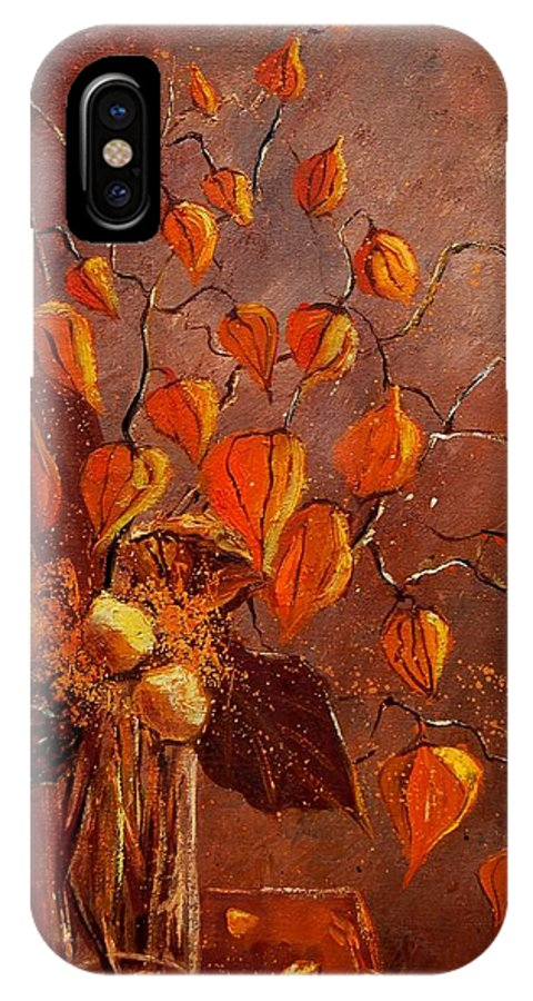 Poppies IPhone X / XS Case featuring the painting Physialis by Pol Ledent
