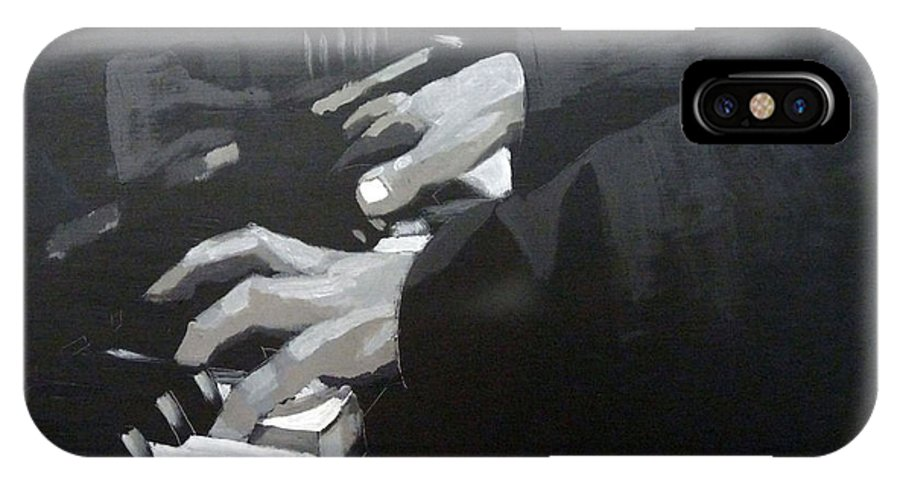 Piano IPhone X Case featuring the painting Piano Hands by Richard Le Page