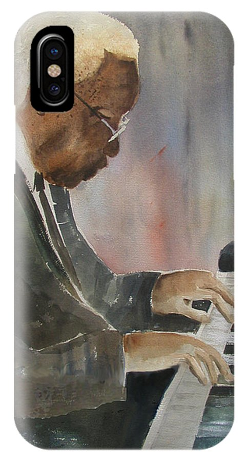 Pianist IPhone X Case featuring the painting Piano Jazz by Arline Wagner