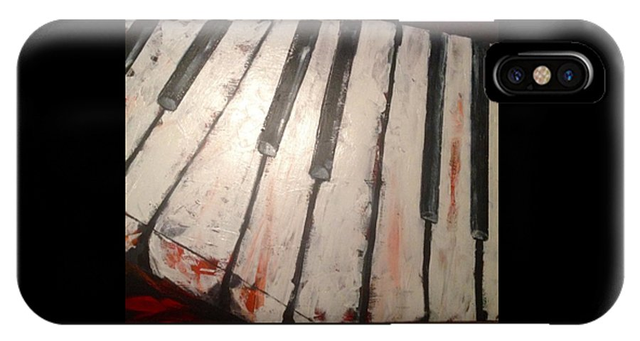 Piano IPhone X Case featuring the painting Piano Keys by Jennifer Whitworth