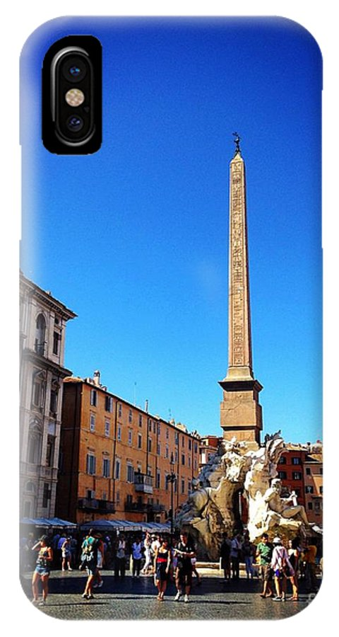 Italy IPhone X Case featuring the photograph Piazza Navona 2 by Angela Rath